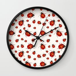 LOVING RED LADY BUGS  ON WHITE COLOR DESIGN ART Wall Clock