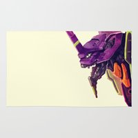 evangelion Area & Throw Rugs featuring Eva 01 by Joel Amat Güell