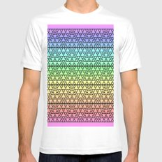 Triangles in Triangles on Rainbow Mens Fitted Tee White MEDIUM