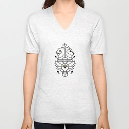 Vulnera Confidebat coat of arms black Unisex V-Neck