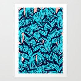 Blue Banana Leaf Pattern Art Print