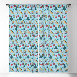 Christmas German Shepherd with Santa Hats, Christmas Trees, and Mistletoe Blackout Curtain
