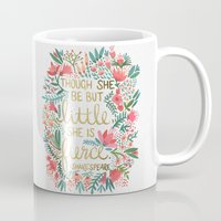 writing Mugs featuring Little & Fierce by Cat Coquillette