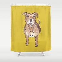 pitbull Shower Curtains featuring Pitbull by Tammy Kushnir