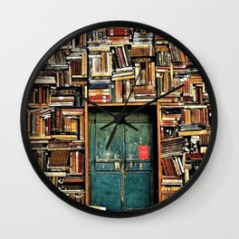 Library with books door entrance Wall Clock