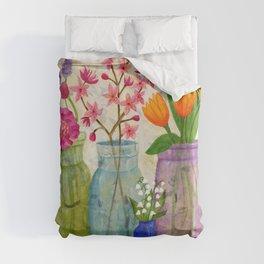 Springs Flowers in Old Jars Duvet Cover
