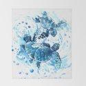 Three Sea Turtles, blue bathroom turtle artwork, Underwater by sureart