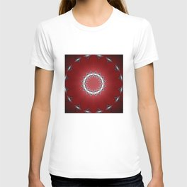 Red Flower with Black and White Accents T-shirt