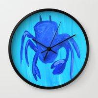 crab Wall Clocks featuring Crab by Lissasdesigns