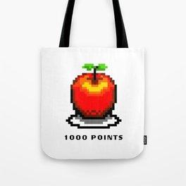 Retro Video Game Pixel Art Apple 1000 Points Tote Bag