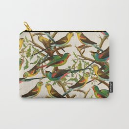 Whimsical red green colorful birds parakeets Carry-All Pouch