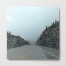 Mountain Foggy Road Metal Print