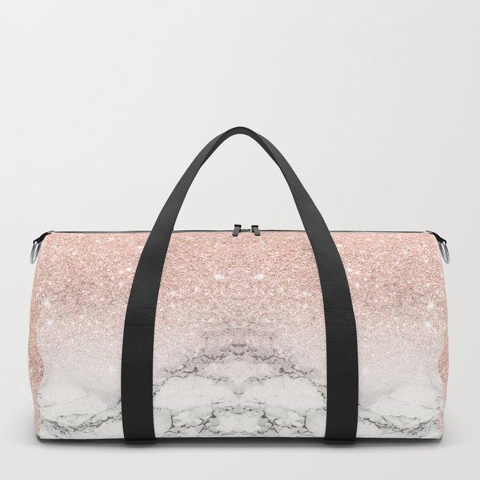 Modern faux rose gold pink glitter ombre white marble Sporttaschen