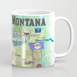 USA Montana State Illustrated Travel Poster Favorite Map Coffee Mug