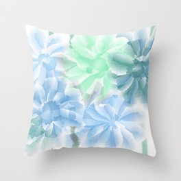 Big Flowers With Blue and Green Throw Pillow