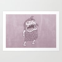 sasquatch Art Prints featuring Sasquatch by Damien Mason