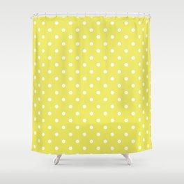 Citron Lemon-Lime and White Polka Dots Shower Curtain