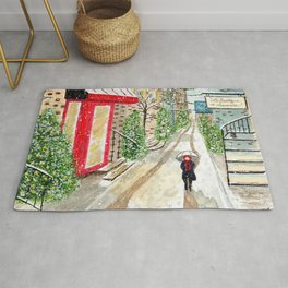 Snowfall in Quebec City Rug