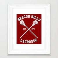 lacrosse Framed Art Prints featuring Beacon Hills Lacrosse by Meg!