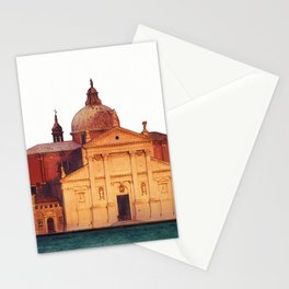 Soft watercolor sunset with views of San Giorgio island, Venice, Italy. Stationery Cards