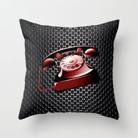 telephone Throw Pillows featuring TELEPHONE by Ylenia Pizzetti