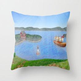 Oslo Fjord Panorama Throw Pillow