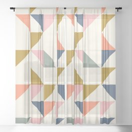 Floating Triangle Geometry Sheer Curtain
