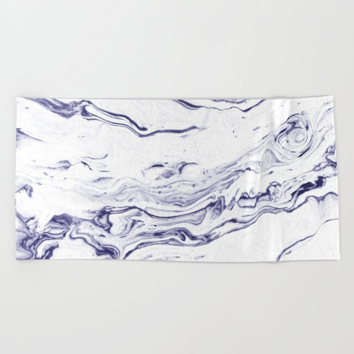 Navy Blue Marble #society6 #decor #marble Beach Towel