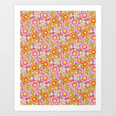 Summer Daisies Tiled Pattern Art Print