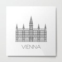Town Hall Vienna Austria Black and White Metal Print