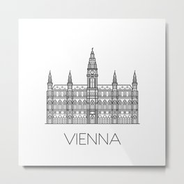Town Hall Vienna Austria Black and White Metal Print
