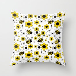 Honey Bumble Bee Yellow Floral Pattern Throw Pillow