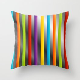 Colorful and shiny stripes on metal Throw Pillow