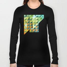 Abstract Geometric Tropical Banana Leaves Pattern Long Sleeve T-shirt