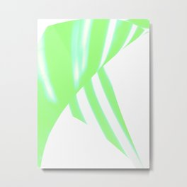 Green abstract stripes Tropical blinds move Metal Print