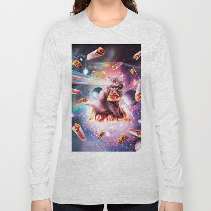 Outer Space Pizza Cat - Rainbow Laser, Taco, Burrito Long Sleeve T-shirt