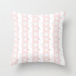 Stars Stripe, January Stars blush and gray Throw Pillow