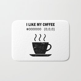 I Like My Coffee Black Hex Code RGB Programmer Graphic Designer Nerd Funny Bath Mat