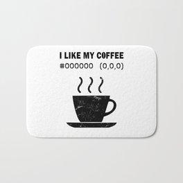 I Like My Coffee Black Hex Code RGB Programmer Graphic Designer Nerd Funny Bath Mat
