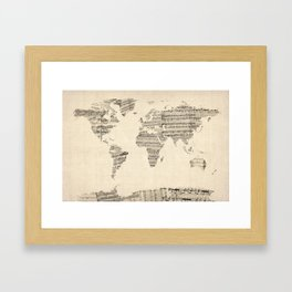 Old sheet music world map wall clock by artpause society6 old sheet music world map framed art print gumiabroncs Choice Image