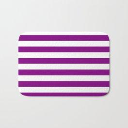 Narrow Horizontal Stripes - White and Purple Violet Bath Mat