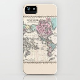 1855 Colton Map of the World on Mercator Projection iPhone Case