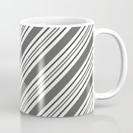 Pantone Pewter and White Thick and Thin Angled Lines - Diagonal Stripes Coffee Mug