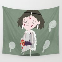 princess mononoke Wall Tapestries featuring Princess Mononoke by Rod Perich