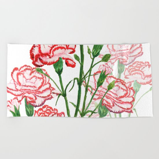 pink and red carnation watercolor painting Beach Towel