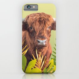 Highland Cow with grass Illustration Design iPhone Case