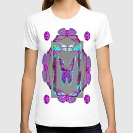 Amethyst Fantasy Jeweled Butterflies Grey Abstract T-shirt