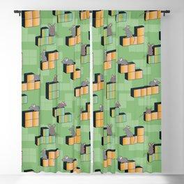 Mice playing the gaming blocks of Tetris Blackout Curtain