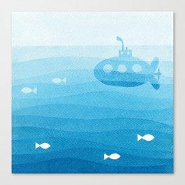 submarine, blue watercolor Canvas Print