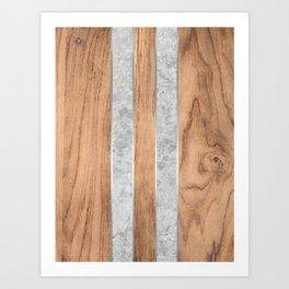 Wood Grain Stripes Concrete #347 Art Print